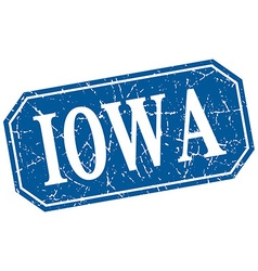 Iowa blue square grunge retro style sign vector