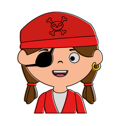 little kid disguised as a pirate vector image