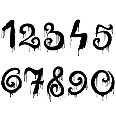 Melted numbers set vector