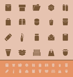Package color icons on brown background vector image