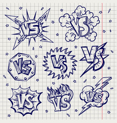Pen drawn versus confrontation labels vector