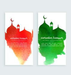 Ramadan kareem colorful vertical banners vector
