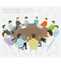 Round-table talks Group of business people team vector image vector image