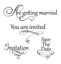 Set collection of wedding calligraphy inscriptions vector