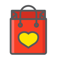 shopping bag with heart filled outline icon vector image