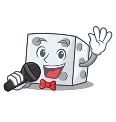 Singing dice character cartoon style vector