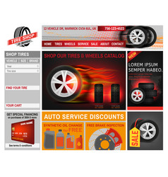 tire shop website vector image vector image