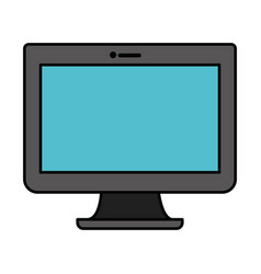 White background with blue lcd monitor with thick vector