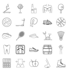 Women health icons set outline style vector
