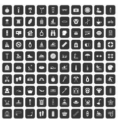 100 human health icons set black vector