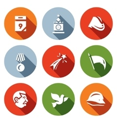 Holiday - 9 may set of victory day icons vector