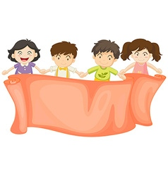Banner design with boys and girls vector image