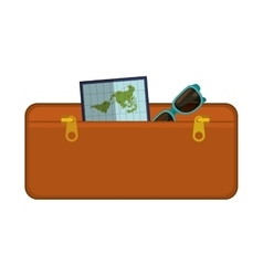 Travel suitcase brown of vacation vector