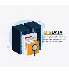 Big data center base and web hosting icon set vector