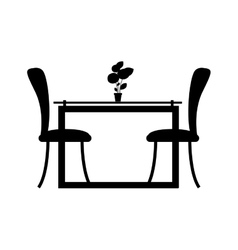 Monochrome silhouette dining room with two chairs vector