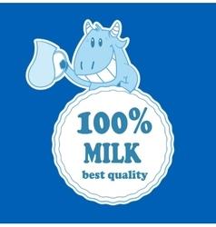 Cartoon cow with milk badge vector image