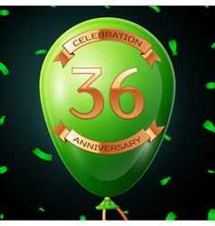 Green balloon with golden inscription thirty six vector