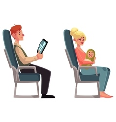 Airplane passengers - woman with baby and man vector