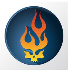 Red and yellow gradient flaming skull vector