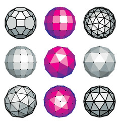 Set of dimensional low poly objects spherical vector