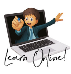 Word phrase for learn online with teacher in vector