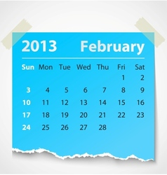 2013 calendar february colorful torn paper vector image