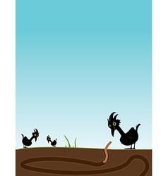 Bird watching worm vector image
