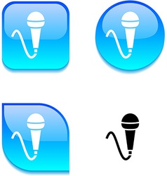 Mic glossy button vector