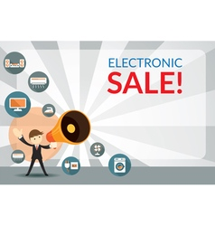 Businessman and megaphone announce electronic sale vector