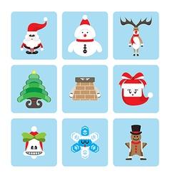 set of christmas character vector image