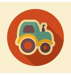 Tractor retro flat icon with long shadow vector