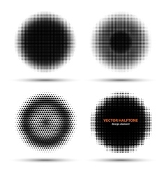 Set of four abstract halftone design elements vector image