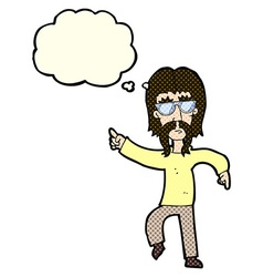 Cartoon hippie man wearing glasses with thought vector