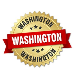 Washington round golden badge with red ribbon vector
