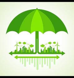 Eco city concept with umbrella stock vector