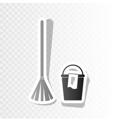 Broom and bucket sign new year blackish vector