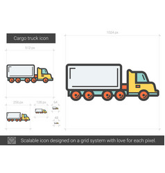 Cargo truck line icon vector
