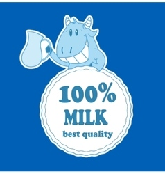 Cartoon cow with milk badge vector
