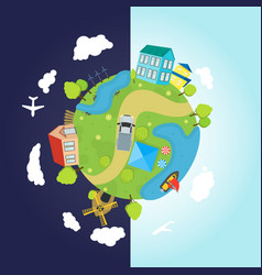 Cartoon planet earth with houses ocean roads vector