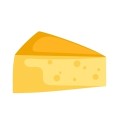 Cheddar cheese slice on white background food vector image