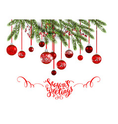 christmas tree and red balls vector image vector image