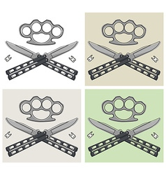 Crossed butterfly knifes emblem with different vector image vector image