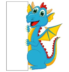 Cute dragon cartoon with blank sign vector image vector image