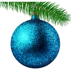 cyan christmas ball or bauble and fir branch vector image vector image