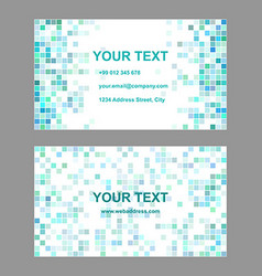 Cyan square mosaic business card template design vector