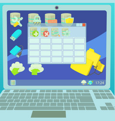 Data base concept laptop cartoon style vector