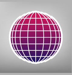 Earth globe sign purple gradient icon on vector