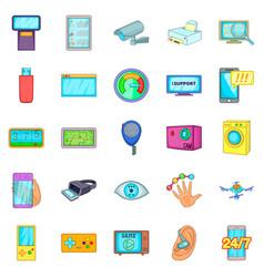 Fix the electronics icons set cartoon style vector