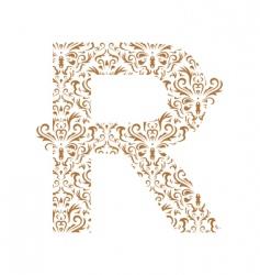 floral letter r ornament font vector image vector image