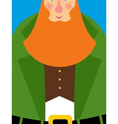 Good Leprechaun in green frock coat Big Red Beard vector image vector image